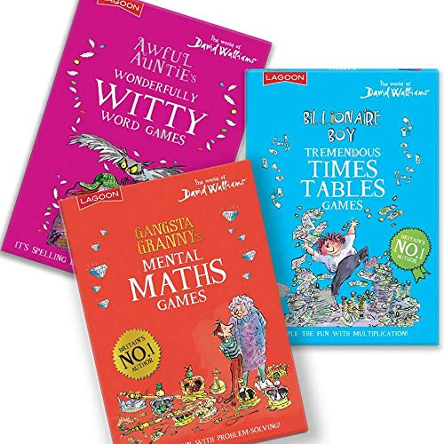 Lagoon Group David Walliams - Set of 3 Educational Games - Mental Maths, Times Tables, Wonderful Words