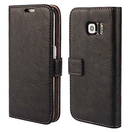 FDTCYDS Etui Galaxy S6 Edge,Pochette Portefeuille en Cuir Véritable Coque de Protection pour Housse Samsung Galaxy S 6 Edge avec Fonction Stand – Black/Noir