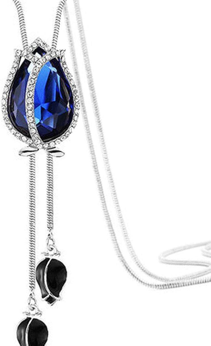 Bohemian Tassel Tiered Tulip Flower Pendant Necklace Crystal Opal Long Chain Women Girl Blue