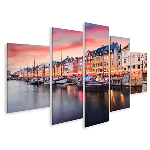 Bild Bilder auf Leinwand Kopenhagen, Dänemark am Nyhavn-Kanal. Wandbild, Poster, Leinwandbild PSK