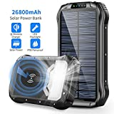 Solar Charger, 26800mAh Solar Power Bank Qi Wireless Portable Charger with 4 Outputs & Dual Inputs Type-C, Waterproof External Backup Battery Pack with 18 LED Flashlight for iPhone, Android Phones