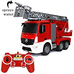 RC Fire truck with full function Remote Control and Rechargeable batteries for high power truck. 1/20 Scale. Features Include: 360° rotating and stretch out ladder, fire hose can spray real water, simulated lights and sound. Licence by Mercedes-Benz....