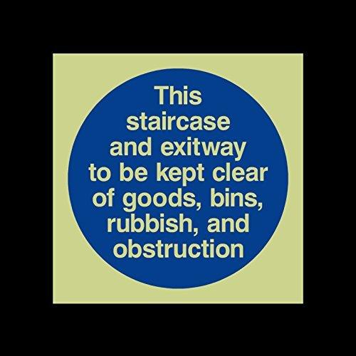 Deze trap en uitgang te worden gehouden vrij van goederen, Bins, Rubbish en obstructie Photoluminescent teken Stickers Zelfklevende Vinyl Fire Escape, Houd vergrendeld, gesloten