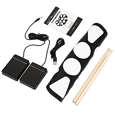 Artempo Portable Electronic Roll up Drum Pad Kit, Record Function, with Sticks