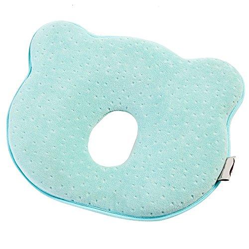 Babykissen gegen Plattkopf Verformung Flacher Kopfform Memory Foam Kissen kleines Babykopfkissen für Baby Mädchen Junge (Blau)