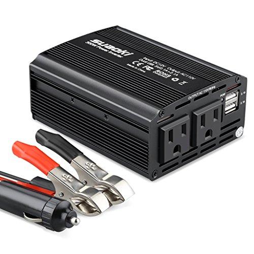 Suaoki - 300W Inversor de Corriente, DC 12V, 220V-240V AC salida, Dual Puertos USB 5V/2.1A (Diseño...