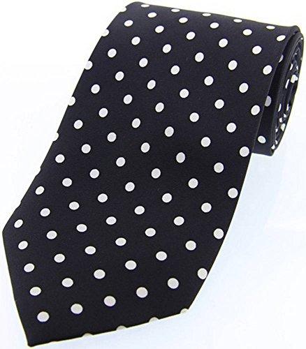 David Van Hagen Noir/Blanc Polka Dot twill de soie cravate de