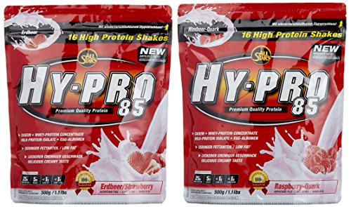 All stars Hy-Pro 85 Beutel 2er Mix Pack (2 x 500 g) Erdbeere/Himbeer-Quark, 1er Pack (1 x 1 kg)