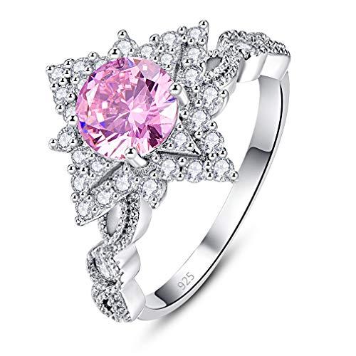 Yazilind Fashion Delicate Jewelry 925 Sterling Silber Überzug Kristall Regenbogen Diamant Ring pink 16.6