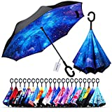 Owen Kyne Windproof Double Layer Folding Inverted Umbrella, Self Stand Upside-down Rain Protection Car Reverse Umbrellas with C-shaped Handle (Starry Sky 2)