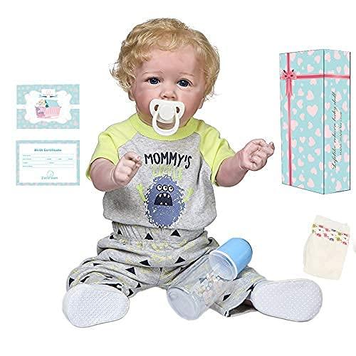 Zero Pam 22inch Reborn Toddler Dolls Boy Blonde Curly Hair Realistic Newborn Baby Dolls Full Silicone Body Washable Babies Life Size Child Anatomically Correct Best Xmas Birthday Gift