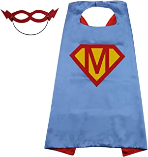 Initial Name Kids Superhero Cape with Mask,Blue & Red Capes,23 Letter Choice