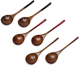 Donxote 6.3 inches Handmade Japanese Style Wooden Utensil Soup Spoons Set of 6