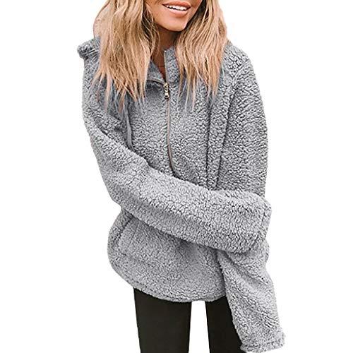 TEFIIR Damen Einfarbiger Kapuzenpullover Sowie Warme Langärmlige Hoodies Casual Mantel Kapuzenjacke mit Tasche Tops Hemd Sweater Pullover Sweatshirt