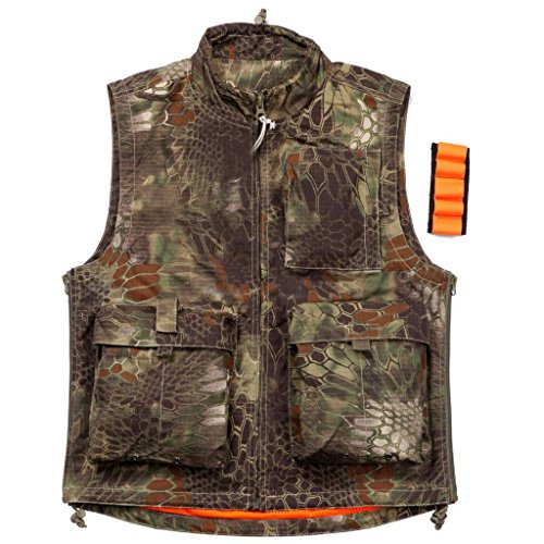 REEBOW GEAR Gilet tactique d'extérieur multi-poches pour la chasse, la photographie, le camouflage Python, taille XXL