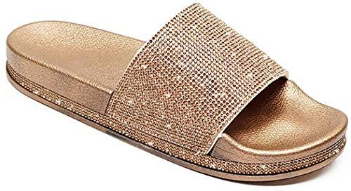 Damen Mädchen Sandalen Sommer Hausschuhe Flip Flops Mode Flache mit Strass Glitzer für Frauen Sommer Flip Flops Casual Strand Sandale Flache Schuhe (EU 38, Golden)