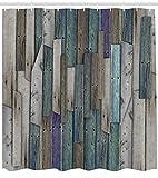 Dor675ser Duschvorhang, 183 x 200 cm, rustikaler Duschvorhang, blau-graue Planken, Grunge Print für Badezimmer