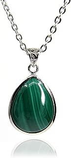 Amandastone Gemstone Natural Malachite Water Droplets Charm Pendant Necklace 18''