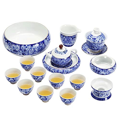 New Ceramic Tea Set Household High-end Blue And White Porcelain Kung Fu Tea Cup Soak Teapot Business Gift Box