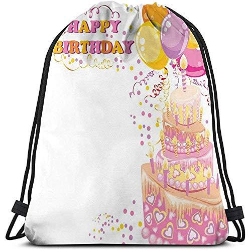 BOUIA Trekkoord Rugzak Sport Gym Cinch Tas, Celebration Meisje Themed Party Cake Kaarsen Ballonnen Hartjes Afbeelding Print