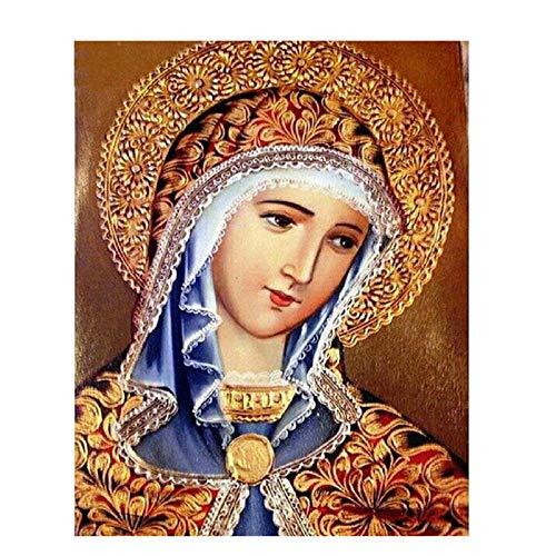 Pintura Diamante 5D Taladro Completo Virgen María Diy Kit De Mosaico Escénico Punto De Cruz 3D Costura Decoración Para El Hogar Regalo,60X80cm
