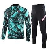 CCJJ Bǎrcělǒnǎ mǎsǐp 2021 Traje de Entrenamiento de fútbol de Manga Larga Pantalones Deportivos Trajes de Ropa Deportiva para Ventiladores Sudadera Bordada Ropa de compet L