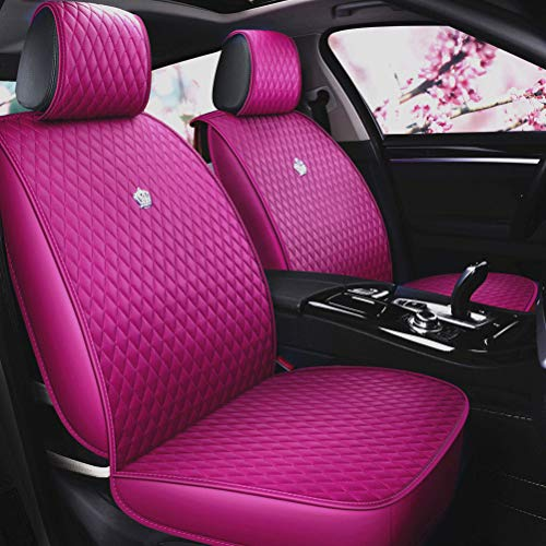 Rose Pink Seat Covers Full Set Luxury Leather Auto Seat Covers 9PCS Front & Rear Seat Covers with Airbag Compatible Universal Fit Most Car Auto SUV (B-Rose Pink) -  Haihong