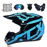 Trend jewelryMotocross-Helm und Schutzbrille (5 Stück) - Schwarz und Blau - Erwachsener...