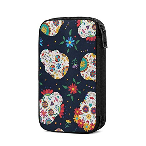 Travel Cable Organizer Bag,Mexican Sugar Skull Electronics Accessories Case Portable Cable Organizer for Cable,Cord,Charger,Phone,USB,Sd Card