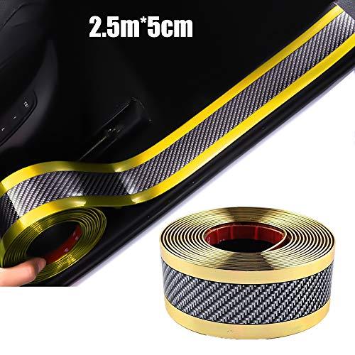 Universal Fibra de Carbono Umbral del Coche Protector Flexible,Frente Cubierta de Parachoques Puerta de Coche,Placa Adhesiva,Accesorios de Protección Para Coches SUV (Amarillo bilateral 2.5m * 5cm)