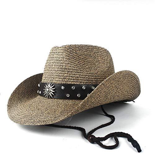 SAIPULIN Cowgirl Jazz Kerk Cap Papa Sombrero Strand Zon Hoed Zomer Vrouwen Mannen Rieten Holle Westerse Cowboy Hoed Voor Gentleman