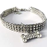 Leoboone - Collar para Perro o Gato, con Brillantes Diamantes de imitación, elástico, Ajustable, joyería para Mascotas