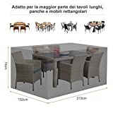 resistente telo protettivo resistente alle intemperie Copertura ovale per sedie da tavolo con occhiello per giardino 208 x 191 x 9