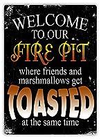 Welcome To Fire Pit メタルポスター壁画ショップ看板ショップ看板表示板金属板ブリキ看板情報防水装飾レストラン日本食料品店カフェ旅行用品誕生日新年クリスマスパーティーギフト