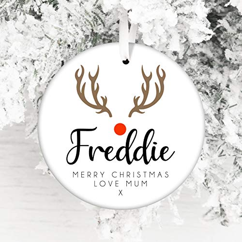 Personalised Christmas Ceramic Bauble - Gift Edition - Keepsake Decoration - Add A Name & Message (Reindeer)