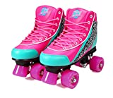 Kandy-Luscious Kid's Roller Skates - Comfortable Outdoor Children's Skates with Fun Colors & Designs | Sassy Pink and Turquoise | Size 1