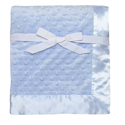 Baby Starters Textured Dot Blanket with Satin Trim, Blue 30'...