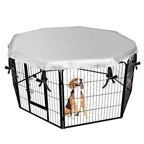 YMYP08 Waterdichte hond kooi Cover, Geschikt voor binnen en buiten Dergelijke Kennel Cover, Zilver, Geschikt voor 25.2in/64.7cm Kratten En 8 Panelen