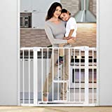 KINGSO Auto Close Safety Baby Gate Extra Wide Durable Dog Gate 29.5'-40.5' Easy Walk Thru Baby Gate with Pet Door for Stairs Doorways House. Include 4 Pressure Bolts, 2.75'' & 5.5'' Extension, White