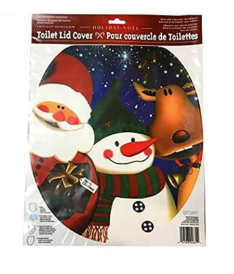 Christmas Holiday Snowman Santa Reindeer Peel N' Stick Toilet Lid Cover