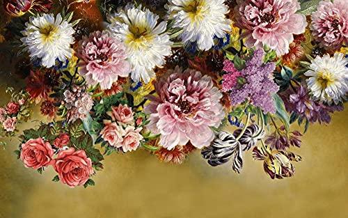 Fotomurales Ramo de Flores 3D Efecto Papel Pintado Tejido No Tejido decoración de Pared decorativos Murales Moderna Diseno 450X300Cm