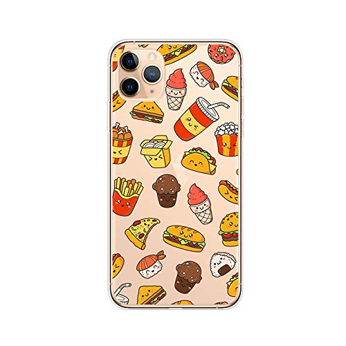 iPhone 11 Pro Max (6.5 inch) Case,Blingy's Fun Food Design Transparent Clear Soft TPU Protective Case Compatible for iPhone 11 Pro Max 6.5' 2019 Release (Happy Fast Food)