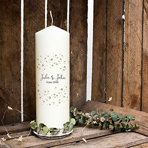 ilka parey wandtattoo-welt Hochzeitskerze Kerze zur Hochzeit Trauung Traukerze mit Namen Wunschnamen, Datum & Konfetti wk76 - ausgewählte Farbe: *beige*