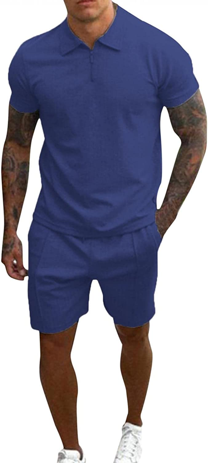 JSPOYOU Men's Casual 2 Piece Outfits Short Sleeve Polo Shirts and Shorts Tracksuit Sets Casual Gym Workout Sports Outfit