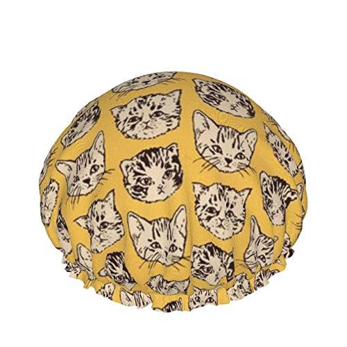 Gorro de ducha para mujeres, hombres, niños, elástico, reutilizable (lindos gatos naranja)