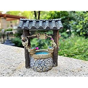 couoc miniature fairy garden well terrarium fairy wishing well fairy garden decor accessory fish tank decoration