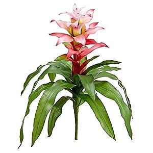 "Silk Flower Arrangements 21"" Silk Bromeliad Plant Flower Bush -Pink/Cerise (Pack of 4)"