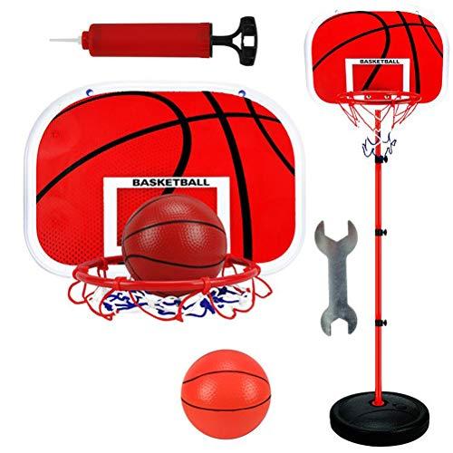 STOBOK Basketball-Set mit Rückwand und Basketballkorb, freistehend, für drinnen und draußen, 150 cm, Rot