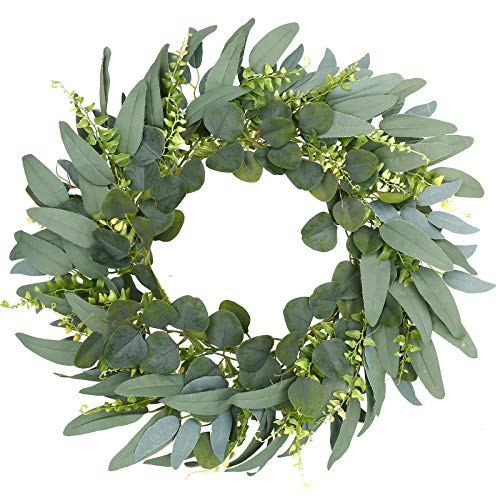Green Eucalyptus Wreath,Artificial Eucalyptus Leaves Wreath with Wisps of Tender Leaves,Spring/Summer Greenery Wreath for Front Door Wall Window Decor-18in