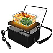 #LightningDeal Portable Oven, 12V Car Food Warmer Portable Personal Mini Oven Electric Heated Lunch Box for Meals Reheating & Raw Food Cooking for Road Trip/Camping/Picnic/Family Gathering